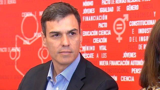 El secretario general del PSOE, Pedro Sánchez, en una reunión