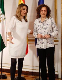 Susana Díaz y Nuria López (CCOO-A), este miércoles en San Telmo