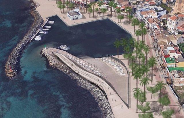 Imagen del proyecto propuesto por la APB para rehabilitar el Puerto del Molinar