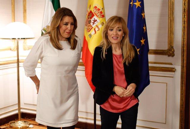 Susana Díaz, con Carmen Castilla (UGT-A), este miércoles en San Telmo