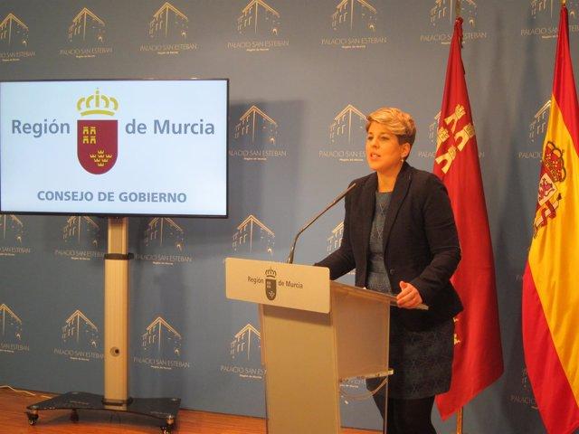 La portavoz del Ejecutivo, Noelia Arroyo, en la rueda de prensa