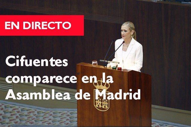 Cifuentes comparece en la Asamblea de Madrid por la polñemica sibre su máster