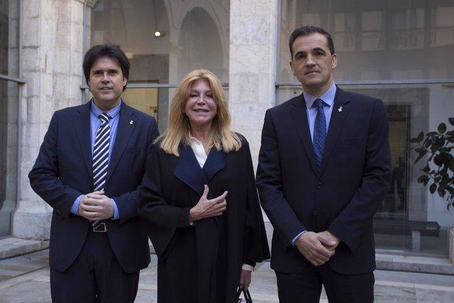 El pdte.De la Dip.De Girona, Pere Vila, la baronesa Thyssen y el alcalde C.Motas