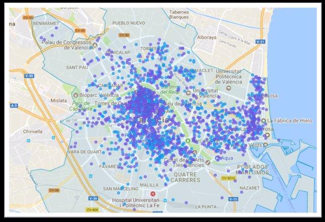 Mapa elaborado por la patronal con la distribución de pisos Airbnb