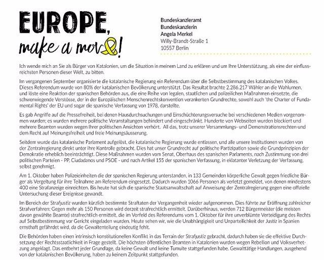 Captura de la carta que la ACDC propone enviar a mandatarios europeos