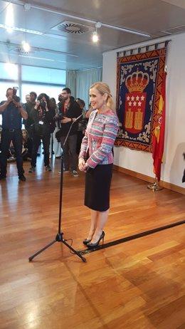 Cifuentes comparece ante los medios en la Asamblea de Madrid sobre su máster