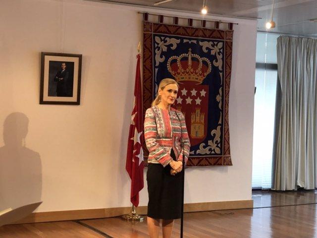 Cristina Cifuentes en rueda de prensa sobre su máster