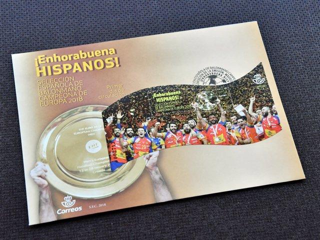 Sello conmemorativo del triunfo de la selección españoal de balonmano en el Euro