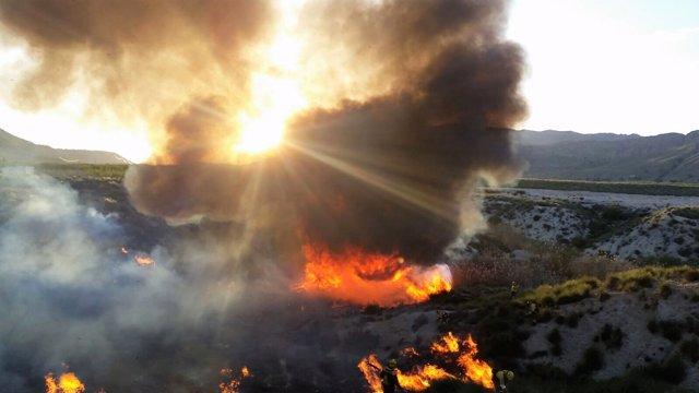 Imagen del lugar del incendio en Ojós