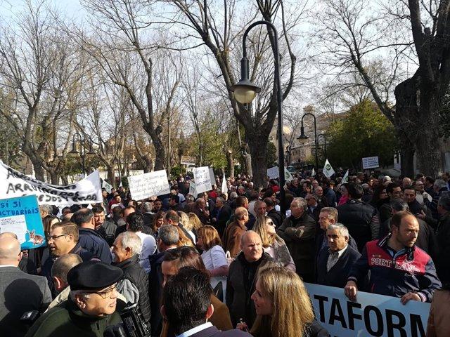 Manifestación de agricultores frente a las Cortes regionales