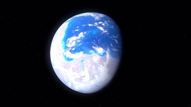 Recreación de la Tierra hace 600 millones de años