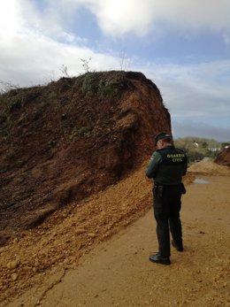 Guardia Civil en el yacimiento arqueológico de la Mina de As Medas