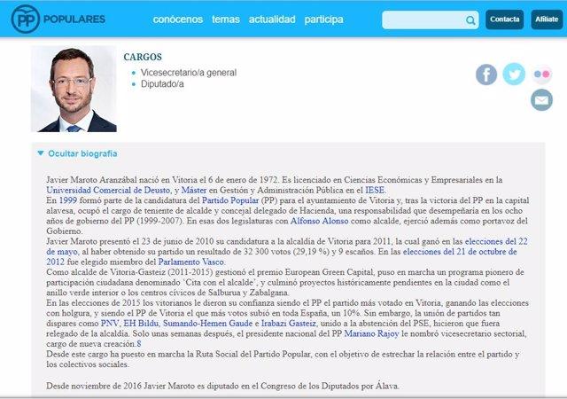 Biografía de Javier Maroto en la página web del Partido Popular
