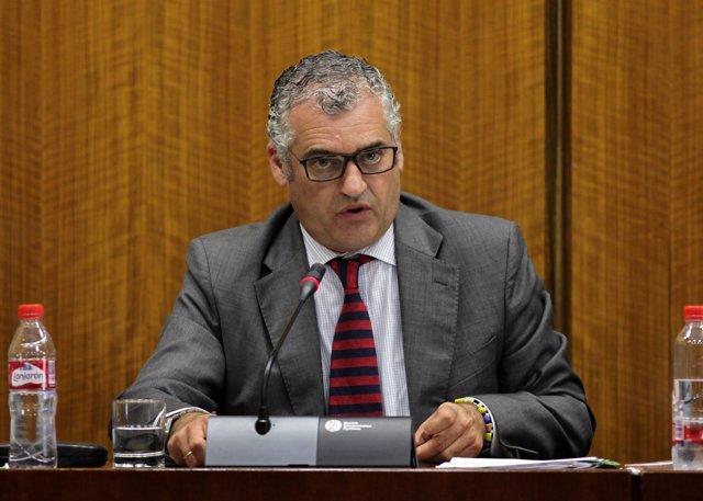 El consejero de Empleo, Empresa y Comercio, Javier Carnero, comparece en comisió