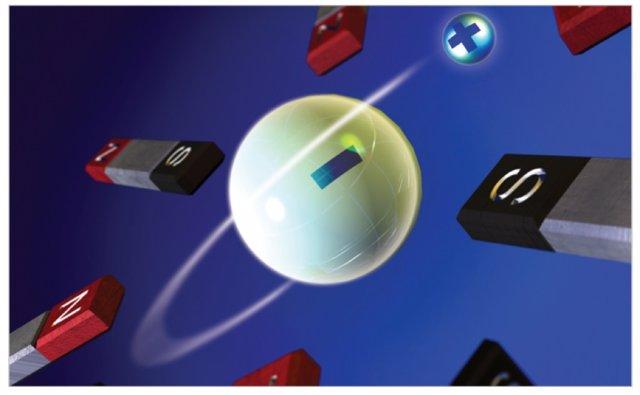 Impresión artística de un átomo de antihidrógeno