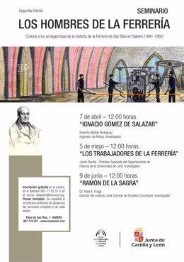 Cartel del Seminario en el Museo de la Siderurgia.