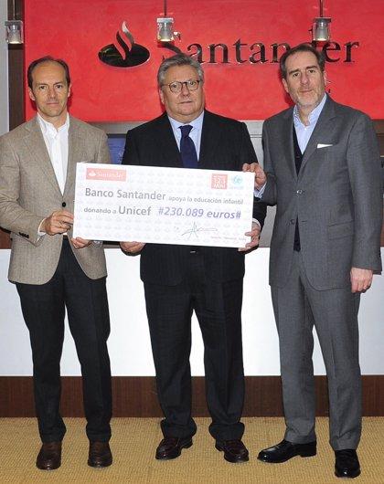 Banco Santander destina más de un millón a UNICEF para proyectos de educación a infancia en España y México desde 2013