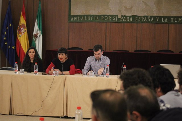 Teresa Rodríguez y Antonio Maíllo durante una reunión en el Parlamento