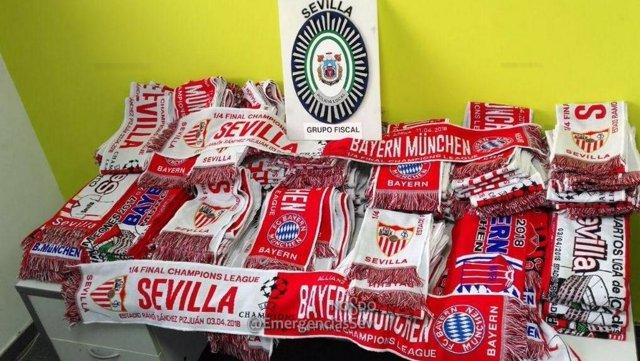 Bufandas del Sevilla-Bayern de Munich intervenidas