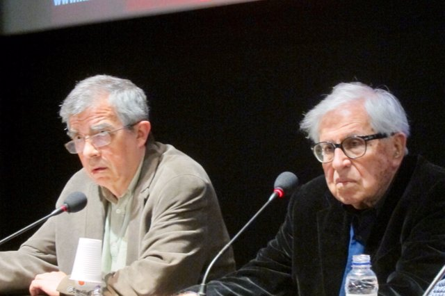 E.Riambau (Filmoteca) y P.Taviani (director)