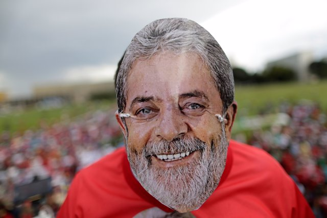 Supporter of former Brazil president Luiz Inacio Lula da Silva takes part in a p