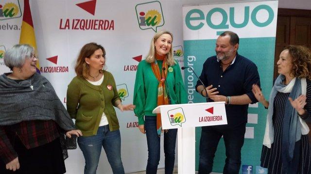 Rueda de prensa conjunta de IU y Equo en Huelva.