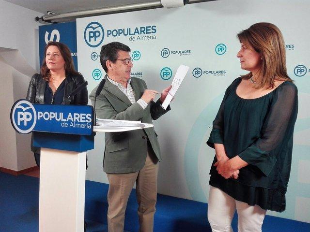 En el centro, Juan José Matarí consulta las inversiones para Almería en los PGE