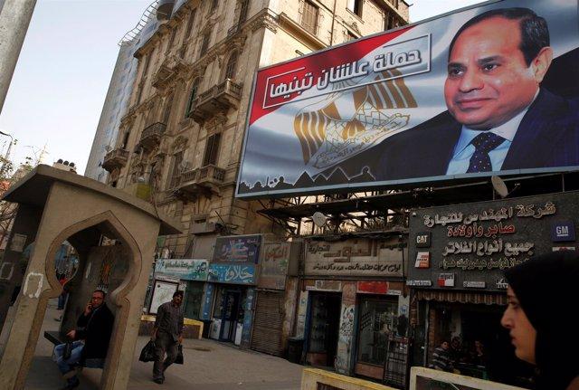 Cartel con la imagen del presidente egipcio, Abdelfatá al Sisi