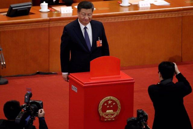 El presidente chino Xi Jinping  en el Gran Salón del Pueblo en Beijing (China)