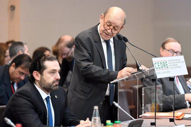 Jean-Yves Le Drian Y El Primer Ministro Libanés Saad Hariri
