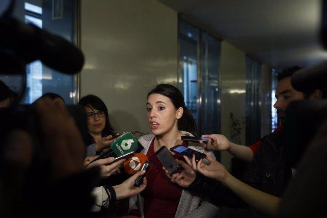 Declaraciones en el Congreso de la portavoz de Podemos, Irene Montero