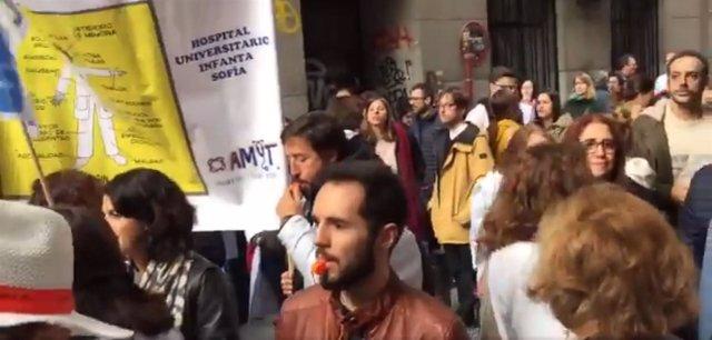 Concentración de los médicos madrileños frente a Consejería de Sanidad