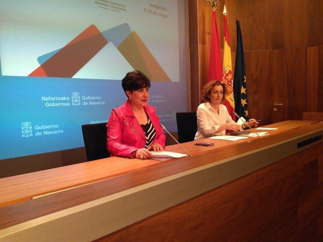 María Solana y Esther Monterrubio en la rueda de prensa