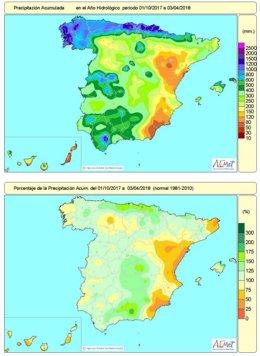 Lluvias acumuladas en España del 1-10-2017 al 3-04-2018