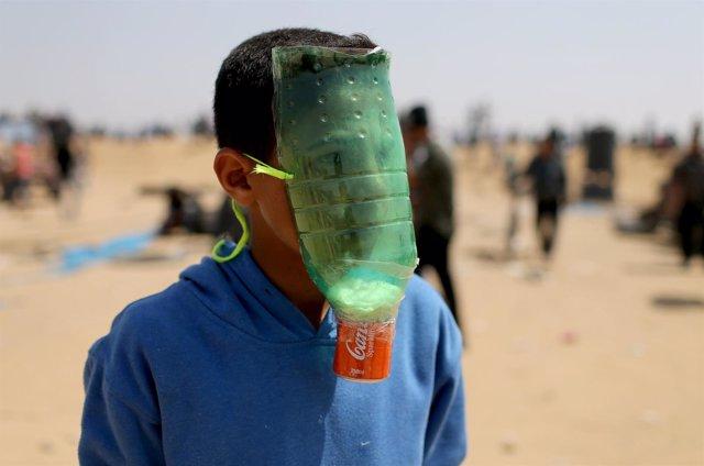 Joven en la Franja de Gaza