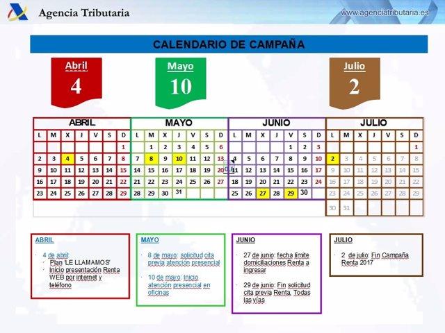Calendario campaña Renta 2017