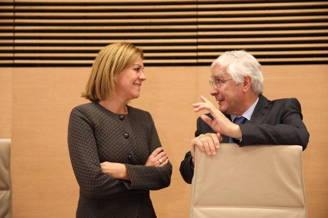 Cospedal y José María Barreda en la Comisión de Defensa del Congreso
