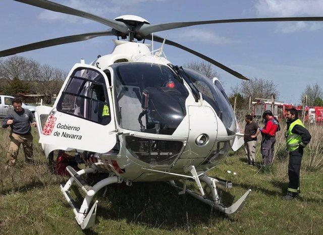 Evacuación del herido en helicóptero