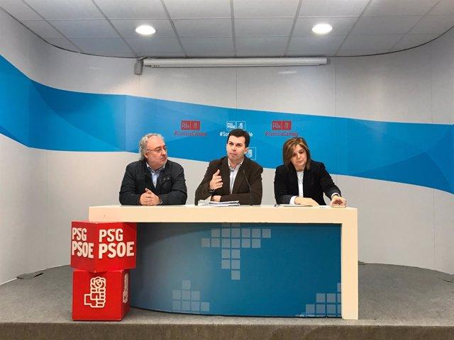 Gonzalo Caballero, secretario xeral del PSdeG, con Cancela y Meijón
