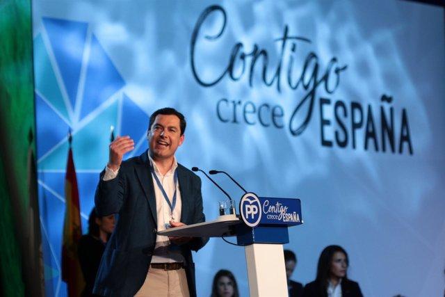 Juanma Moreno interviene ante el plenario de la Convención Nacional del PP