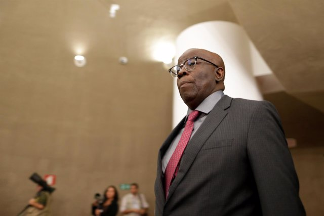 Joaquim Barbosa, former minister of the supreme court of Brazil, is seen on arri