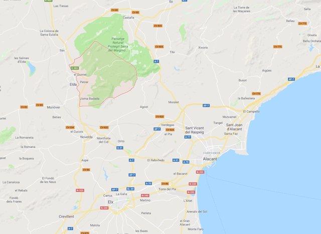 Localización de Petrer (Alicante)