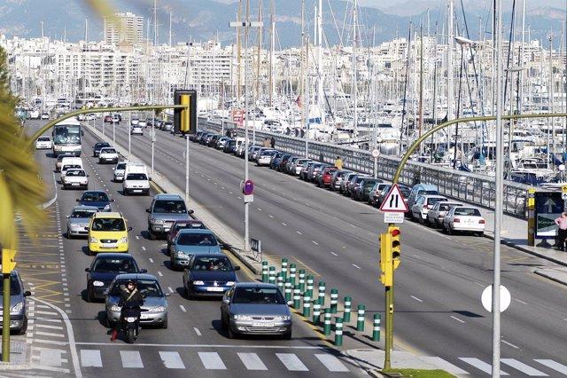 Tráfico en el Paseo Marítinmo de Mallorca