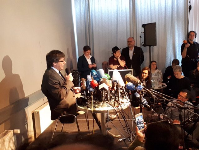 El expresidente de la Generalitat Carles Puigdemont en Berlín