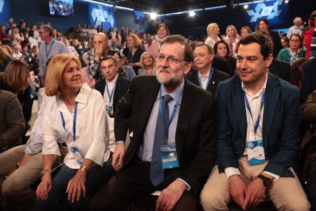 Cospedal, Rajoy y Moreno en la Convención Nacional del PP