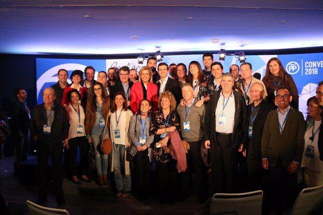 Representantes del PP de Huelva, en la Convención del PP