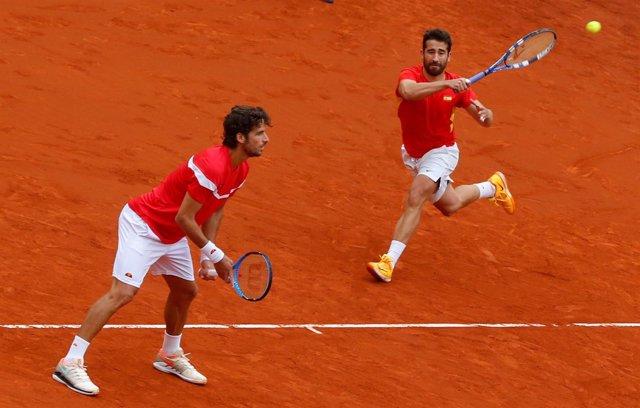 Feliciano López y Marc López en la Copa Davis