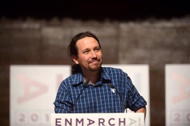 Pablo Iglesias en el encuentro de Podemos 'En Marcha 2019' en la Complutense