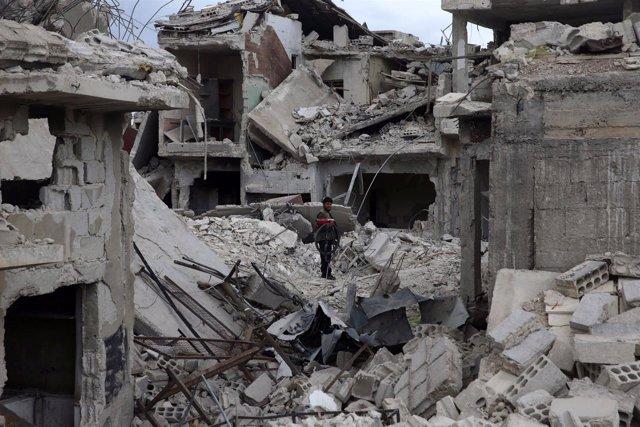 Una casa destruida en Duma