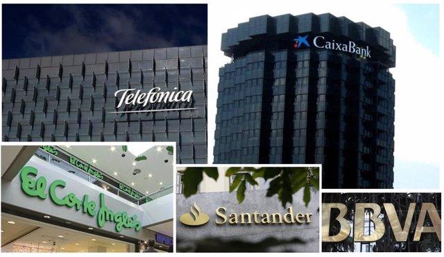 CaixaBank, Telefónica, El Corte Inglés, Santander y BBVA